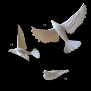 Rzeźba dekoracyjna Gołębie, komplet 2 szt. gołębi G1 i G2